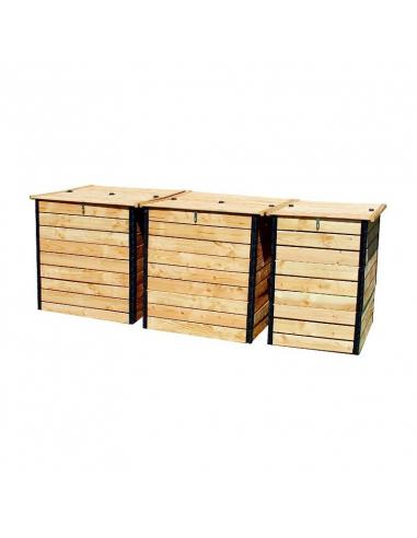 Set of 3 Douglas fir dry-toilet compost bins 3200 liter