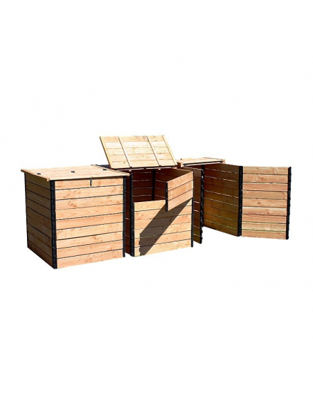 Set of 3 Douglas fir dry-toilet compost bins 3200 liter