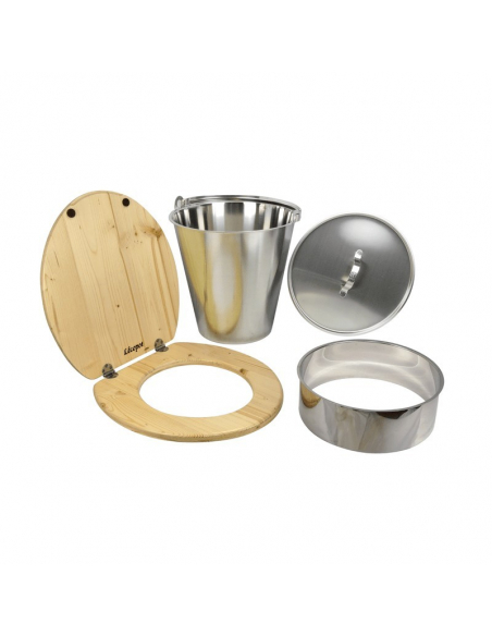 Complete self-builder compost toilet set with stainless steel bucket